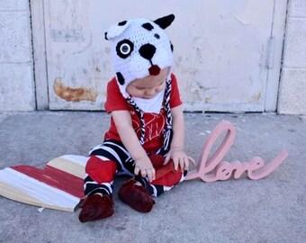 Baby Puppy Hat, Dog Hat, Dalmation hat, black and white hat, Newborn Puppy Hat, baby shower gift, newborn hat, baby girl hat, baby Boy hat