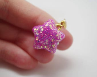 Bright pink, glittery, polymer clay, handmade, star charm