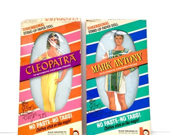 "Rare 1963 Vintage Boise Dimensional Stand-Up Paper Dolls ""Cleopatra"" ""Mark Antony"" in Original Box"