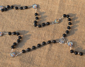 Seven Sorrows Rosary; Made with Onyx, Sterling Silver and Non-Tarnish Silver Spacers
