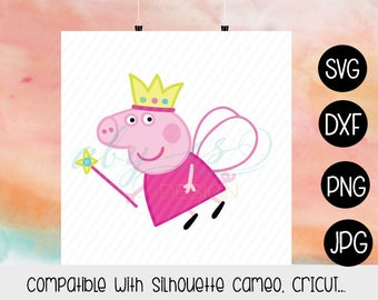 Peppa Pig Fairy SVG, Layered Peppa Pig, Vector Peppa Pig, Clipart, Dxf, Jpg, Iron On Transfer Paper, Silhouette, Cameo, Cricut, Cut Files