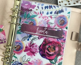 A5 Dashboard, A5 insert, Personal planner insert, Planner Dashboard, laminated dashboard, laminated insert, Filofax, Floral, pink, floral