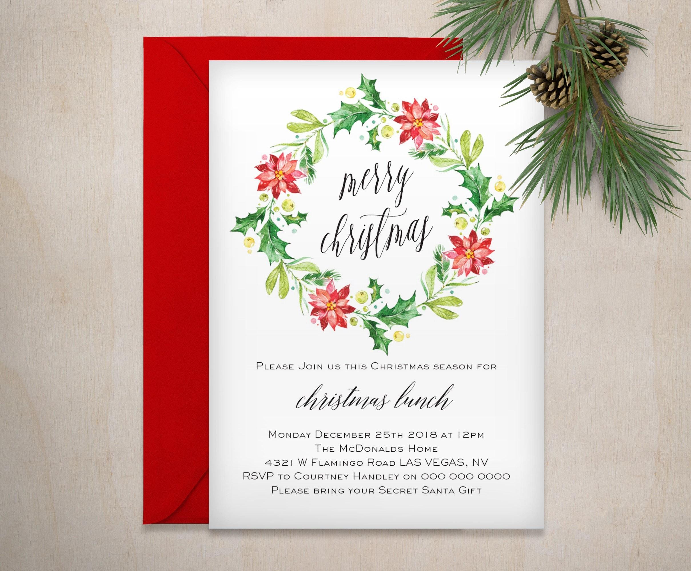secret santa invitation template open dec 2017 holidays