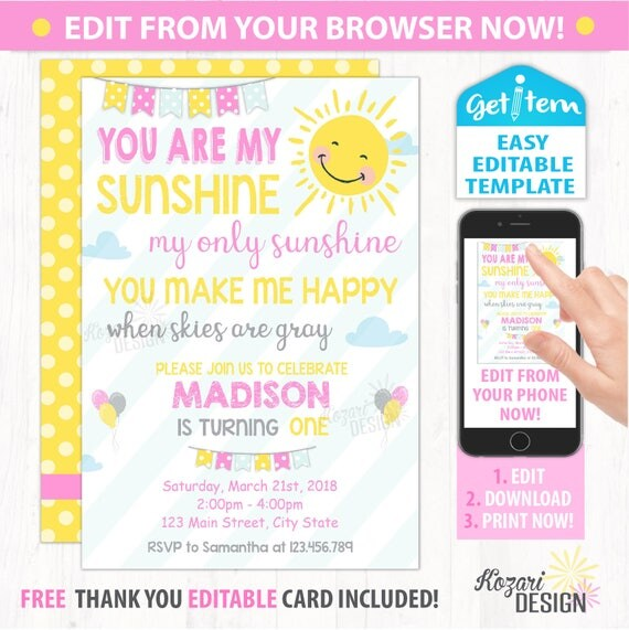 Editable sunshine invitation sunshine birthday invitation like this item stopboris Images