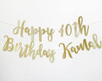 Happy Birthday Banner, Happy Birthday Sign, Custom Birthday Banner, Gold Birthday Party,