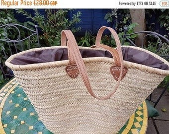 February Sale Large covered  French basket with long leather strap