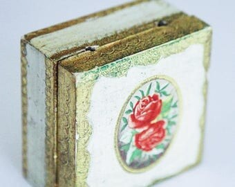 ON SALE Vintage Florentine Wooden Jewelry Box , Made in Italy, Ornate , Vintage Jewelry Box , Jewelry Storage