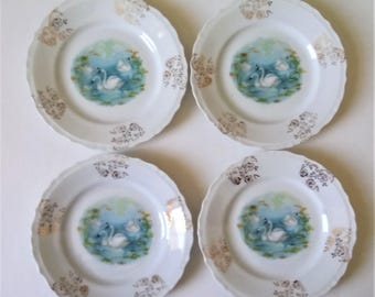 Vintage Swan Saucers Set Of 4 Saucers Small Plates