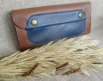 Brown wallet Leather purse Women's wallet genuine leather purse Leather Accessories long wallet classic wallet coin purse