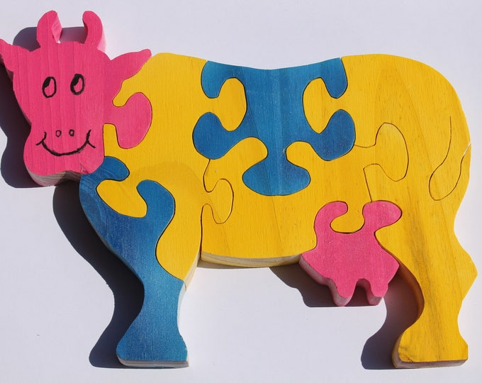 Cow 3d wooden puzzle: raw or painted