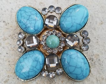 Eye Catching Vintage Statement Brooch Pin! Teal and Clear Rhinestone Crystal Beading with Teal Bead Center! Clasp Closure Works Great!