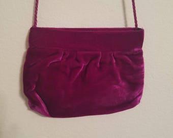 Classic 1970's Fashion - Bohemian/Disco/Hippie Chic - Royal Dark Purple Velvet Shoulder Purse/Coin/Clutch - Wonderful Condition!
