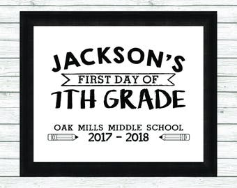 Printable First Day of 7th Grade Sign - First Day of School Sign - Back to School Sign