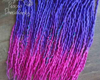 "Fuchsia Bloom - 30DE 18-20"" wool dreads - purple, pink dreadlocks"