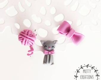 Set of Three Earrings, Cute cat Earrings, Bow Earrings, Kitten Earrings, Cat Jewelry, Handmade Earrings, Kawaii cat miniature, Polymer Clay cat