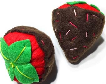 CHOCOLATE STRAWBERRIES • Organic Catnip or Valerian Root Vegan Cat Toy • Valentine's Day Gift