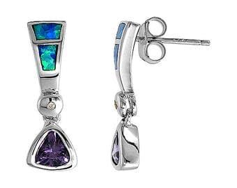 Sterling Silver Blue Opal Dangle Earrings Amethyst CZ Accent