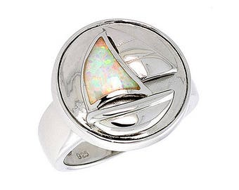 Sterling Silver Pink Opal Sail Boat Statement Ring