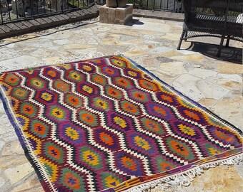 Anatolian Handmade Kilim 100% Wool 66'' x 90'' Handwoven Decorative Kilim Rug