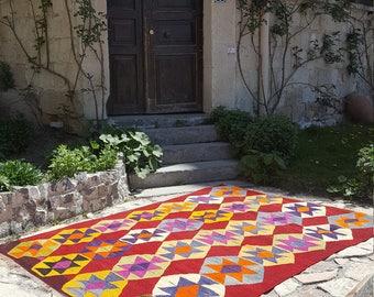 Anatolian Handmade Kilim 100% Wool 61'' x 87'' Handwoven Decorative Kilim Rug