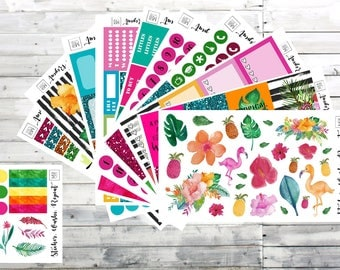 Tropical Vibes planner stickers- WEEKLY STICKER KIT- Erin Condren planner stickers