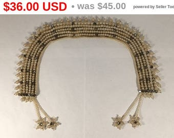 """White Pearlescent Bead and Rhinestone Collar Necklace - Signed Baar & Beards Inc - """"Top Hits"""" Fashion - 1940's 1950's - Japan - Mid Century"""