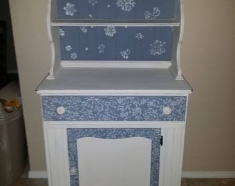 Hand painted, shabby chic, vintage hutch