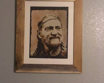 Willie Nelson painting with handmade picture frame