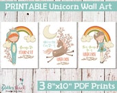 "Printable Unicorn Wall Art Perfect For a Unicorn Themed Bedroom, Includes 3 8""x10"" PDF Files, Cute Unicorn Wall Decor For Girls Bedroom"