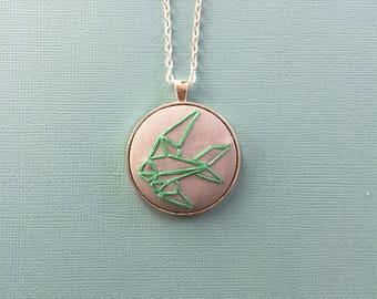 Geometric bird - hand embroidered pendant
