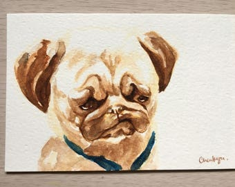 Postcard, dog, puppy, pug, annoyed, original watercolor, handmade, animal art, gift for special ones