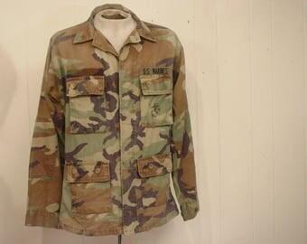 Vintage military jacket, camouflage jacket, 1970s jacket, US Marines, camo jacket, vintage clothing, large