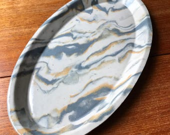 Marbled Oval Ceramic Platter - Serving Plate in Grey, White and Mustard Yellow