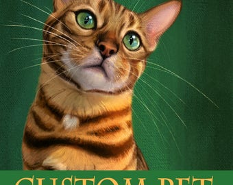 Pet Portrait. Custom Cat Portrait Painting. Cat Portrait.