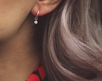 MARGOT. Sterling Silver Tiny Cubic Zirconia Hoop Earrings