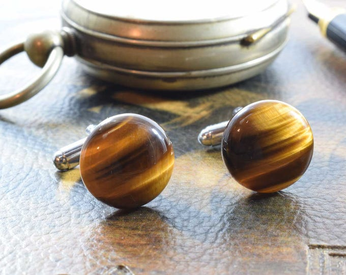 Tiger Eye Cufflinks, Gemstone Cufflinks, Silver Plated, Wedding Gift, Birthday Gift, Anniversary