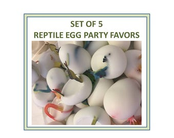 5 Reptile Party Favors - Birthday Party - Zoo Theme Party - Lizards - SINGLE EGG FAVORS - Snake Eggs - Soap Eggs - Snake Party Favor - Zoo5