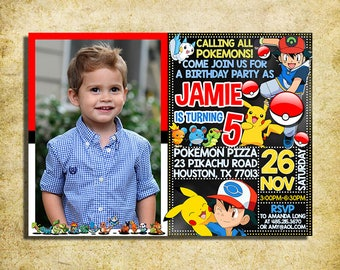 Pokemon Invitation - Pokemon Birthday Party Invite With Photo - Pokémon Invitations - Printable And Digital File