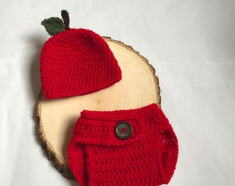 Newborn Apple set- baby apple set- newborn apple set-newborn apple hat-crochet newborn set-baby photo prop-ready to ship