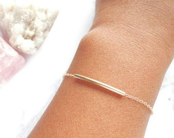 Gold Filled Bracelet - Gold Tube Bracelet - Dainty Bracelet - Stacking Bracelet - Minimal Gold Bracelet - Thin Gold Chain - Gift for Her