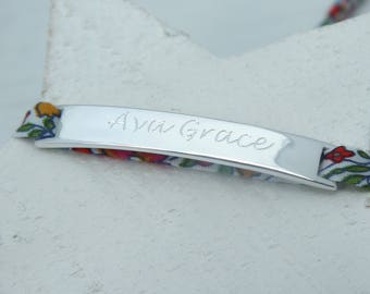 Engraved Sterling Silver Curved Bar & Liberty Fabric Bracelet