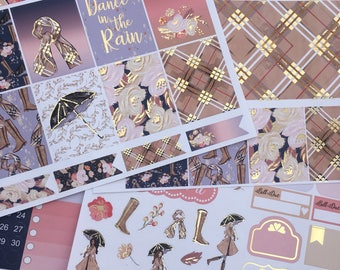 Fall Raindrops Light Gold Foiled Classic HAPPY PLANNER Weekly Decorative Sticker Set