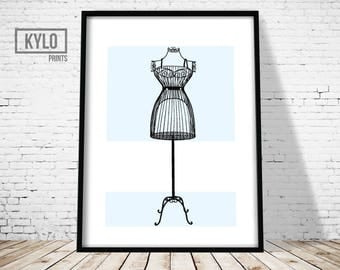 Fashion Print, Wall Art, Home Decor, French Dress Form, Mannequin Print, Fashion Art, Fashion Printable, Dress Form Print, Printable Art