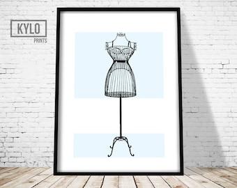 Fashion Print, Wall Art, Home Decor, French Dress Form, Mannequin Print, Fashion Art, Fashion Printable, Dress Form Print, Printable Art