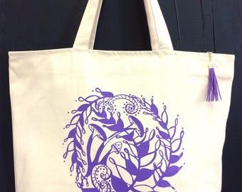 Tote Bag, Beach Bag, Fern & Fungi, Tassle, Carry-All Bag, Zipper-top, Zippered Inner pocket, Market Bag, Reusable Bag, Silkscreen, Handmade