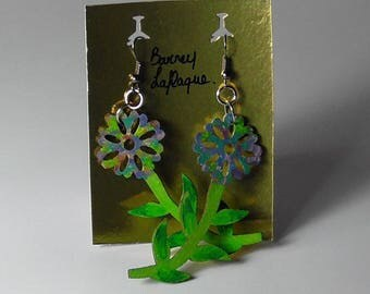 Painted wood Flower Earrings