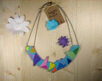 "Necklace ""Geometric cutouts"" colored felt"