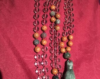 Natural gemstone 8mm quartz/moss agate/brown jasper 108 bead mala / meditation beads /necklace