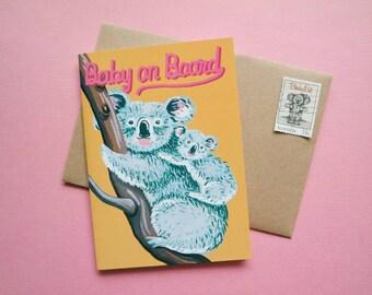 Baby on Board Koala Australian Greeting Card / expecting / recycled / eco / animal / wildlife / funny / retro