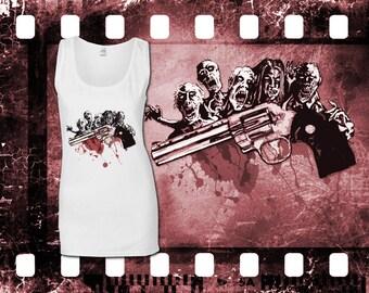 Original Art Inspired by The Walking Dead - Ricks Colt Python - Ladies White Tank Top
